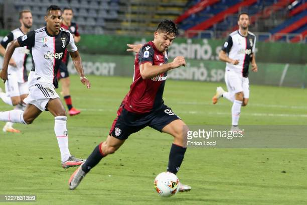 Giovanni Simeone of Cagliari scores their second goal during the Serie A match between Cagliari Calcio and Juventus at Sardegna Arena on July 29,...