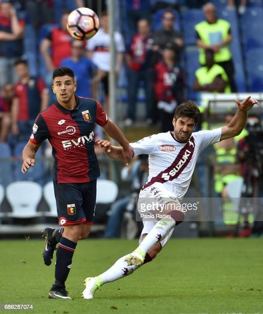 Giovanni Simeone of Genoa and Luca Rossettini of Torino during the Serie A match between Genoa CFC and FC Torino at Stadio Luigi Ferraris on May 21...