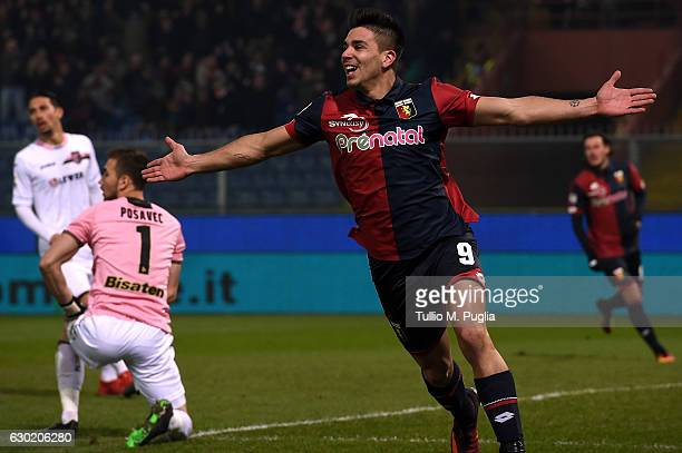 Giovanni Simeone of Genoa celebrates after scoring the opening goal during the Serie A match between Genoa CFC and US Citta di Palermo at Stadio...
