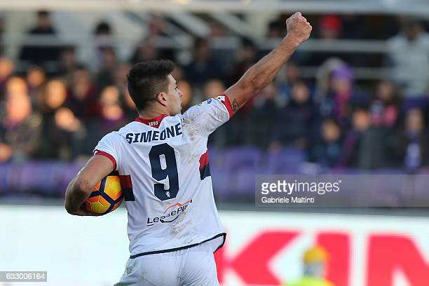 Giovanni Simeone of Genoa CFC celebrates after scoring a goal during the Serie A match between ACF Fiorentina and Genoa CFC at Stadio Artemio Franchi...