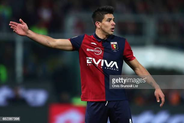 Giovanni Simeone of Genoa CFC gestures during the Serie A match between Genoa CFC and UC Sampdoria at Stadio Luigi Ferraris on March 11 2017 in Genoa...