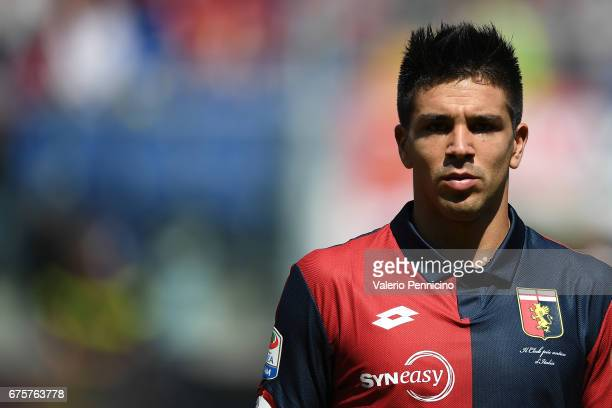 Giovanni Simeone of Genoa CFC looks on during the Serie A match between Genoa CFC and AC ChievoVerona at Stadio Luigi Ferraris on April 30 2017 in...