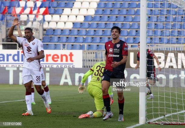 Giovanni Simeone scores his goal 20 during the Serie A match between Cagliari Calcio and Torino FC at Sardegna Arena on June 27 2020 in Cagliari Italy