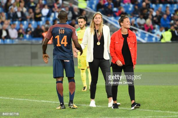 Giovanni Sio and Anouk Dekker and Katrine Veje of Montpellier during the Ligue 1 match between Montpellier Herault SC and Nantes at Stade de la...