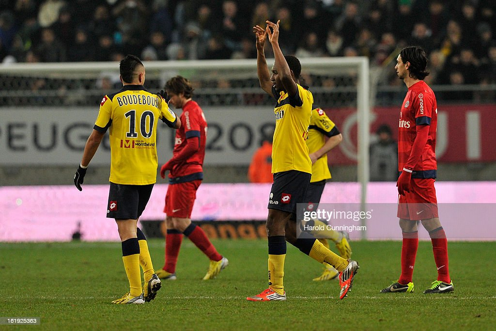 Giovanni Sio (C) of FC Sochaux-Montbeliard celebrates his goal during the French League 1 football match between FC Sochaux-Montbeliard and Paris Saint-Germain FC at Stade Auguste Bonal on February 17, 2013 in Montbeliard, France.