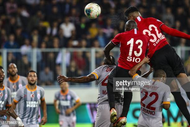 Giovanni Sio of Genclerbirligi vies for the ball against Marcao of Galatasaray during the Turkish Super Lig soccer match between Genclerbirligi and...