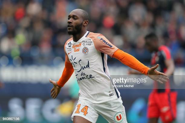 Giovanni Sio of Montpellier celebrates the third goal during the Ligue 1 match between SM Caen and Montpellier on April 1 2018 in Caen France