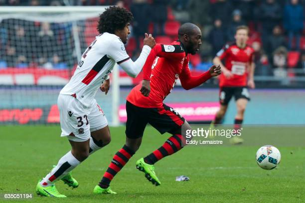 Giovanni Sio of Renne and Dante of Nice during the Ligue 1 match between Stade Rennais and OGC Nice at Roazhon Park on February 12 2017 in Rennes...