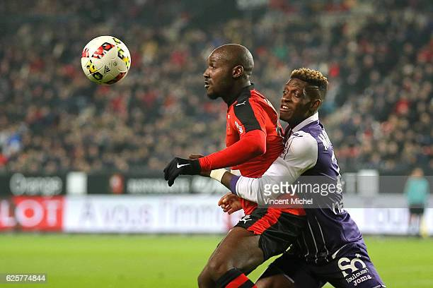 Giovanni Sio of Rennes and Francois Moubandje of Toulouse during the French Ligue 1 match between Rennes and Toulouse at Roazhon Park on November 25,...