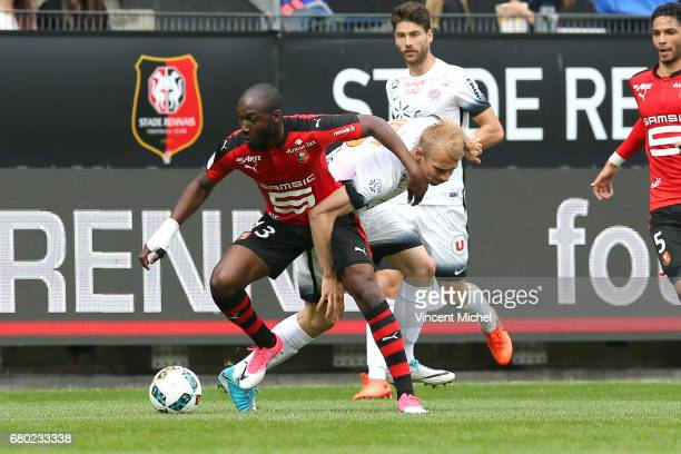 Giovanni Sio of Rennes and Lukas Pokorny of Montpellier during the Ligue 1 match between Stade Rennais and Montpellier Herault at Roazhon Park on May...