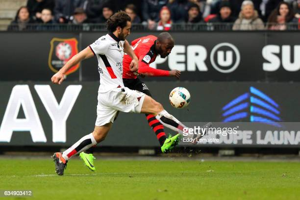 Giovanni Sio of Rennes and Paul Baysse of Nice during the Ligue 1 match between Stade Rennais and OGC Nice at Roazhon Park on February 12 2017 in...