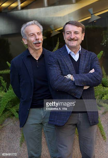 Giovanni Storti and Giacomo Poretti attend a photocall for 'Fuga Da Reuma Park' at Visconti Palace on December 13 2016 in Rome Italy
