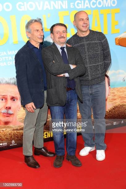 Giovanni Storti Giacomo Poretti and Aldo Baglio attend Odio L'Estate Photocall on January 28 2020 in Milan Italy