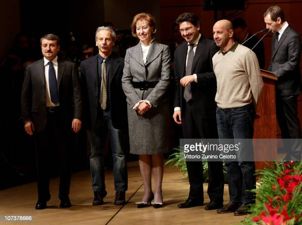 Giovanni Storti Letizia Moratti Giacomo Poretti Manfredi Palmeri Aldo Baglio attend the Ambrogino D'Oro 2010 held at Teatro Dal Verme on December 7...