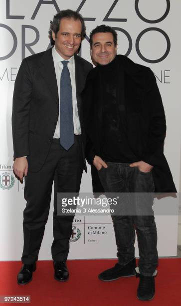 Giovanni Terzi and Ennio Capasa attend the opening of new exhibition space at Palazzo Morando dedicated to fashion and costume on March 1 2010 in...