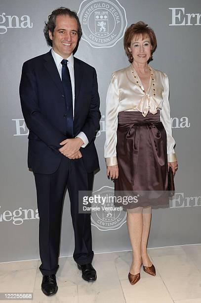 Giovanni Terzi and Letizia Moratti attends the Cento Anni Di Eccellenza Exhibition Launch party during Milan Fashion Week Menswear Spring/Summer 2011...