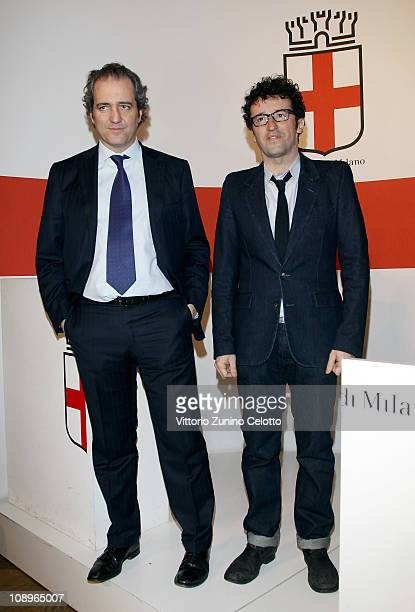 Giovanni Terzi and Massimiliano Bizzi attend the White N21 Press Conference held at Palazzo Marino on February 10 2011 in Milan Italy