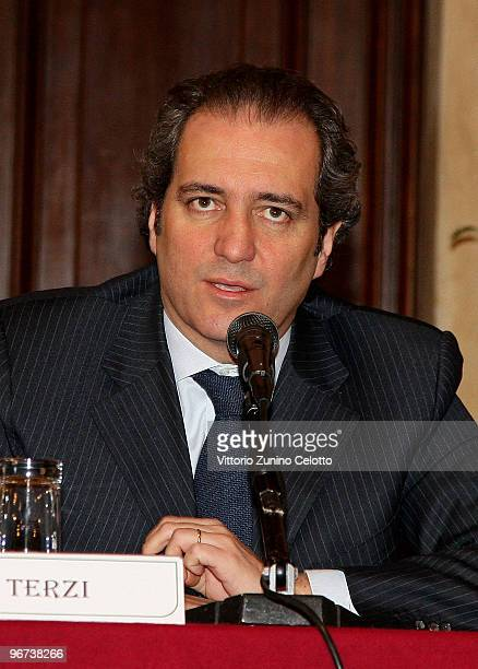 Giovanni Terzi attends the Milan Fashion Week Womenswear Press Conference on February 16 2010 in Milan Italy