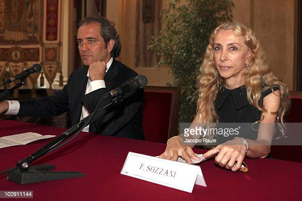 Giovanni Terzi Franca Sozzani attend Vogue Fashion's Night Out press conference on July 15 2010 in Milan Italy