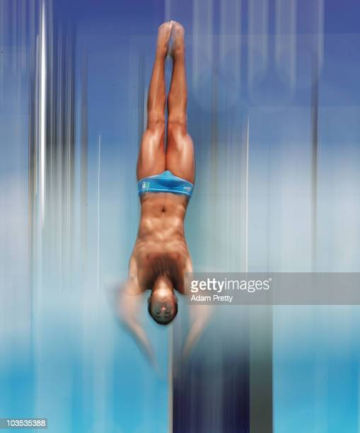 Giovanni Tocci of Italy competes in the preliminary of the Youth Mens 3m Springboard diving competition on day eight of the Youth Olympics at Toa...