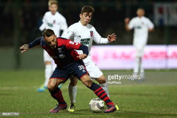 Giovanni Tomi of SS Sambenedettese compete for the ball with Christian Ventola of Teramo Calcio 1913 during the Lega Pro 17/18 group B match between...