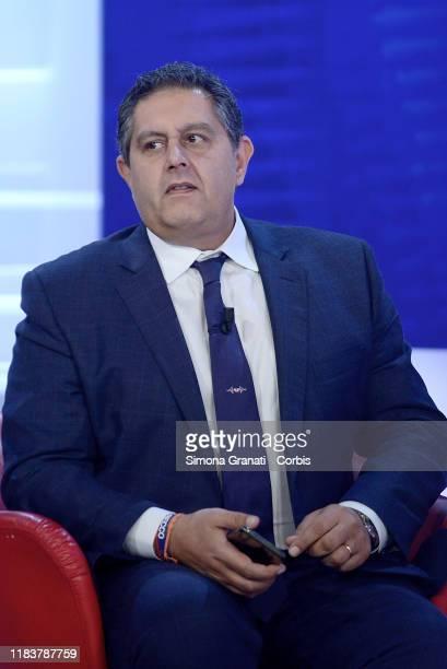 Giovanni Toti leader of politcs party Cambiamo participates in the television program L'aria che tira on November 21 2019 in Rome Italy