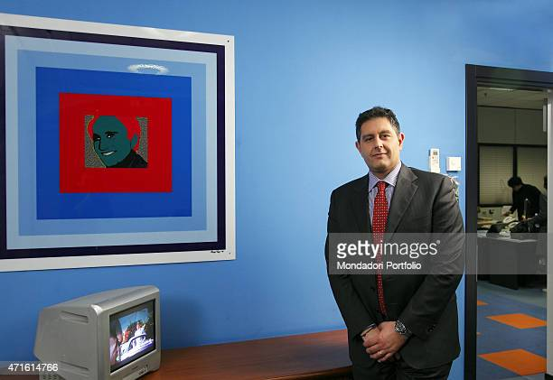 Giovanni Toti news director of Tg4 in his office during a photoshoot Milan 11 april 2012