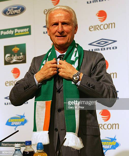 Giovanni Trapattoni answers questions during a press conference to unveil him as the new manager of the Republic of Ireland football team at the RDS...