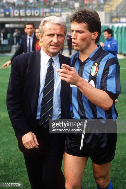 Giovanni Trapattoni head coach of Fc Internazionale embraces Lotar Matthaus of FC Internazionale during the Serie A 1989-90, Italy.