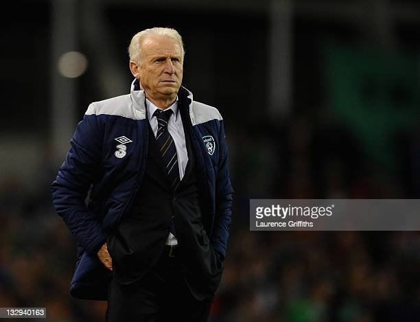 Giovanni Trapattoni of Republic of Ireland looks on during the EURO 2012 Qualifier Play Off Second Leg match between Republic of Ireland and Estonia...