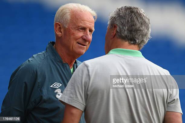 Giovanni Trapattoni the manager of Ireland during the Ireland training session at the Cardiff City Stadium on August 13, 2013 in Cardiff, Wales.