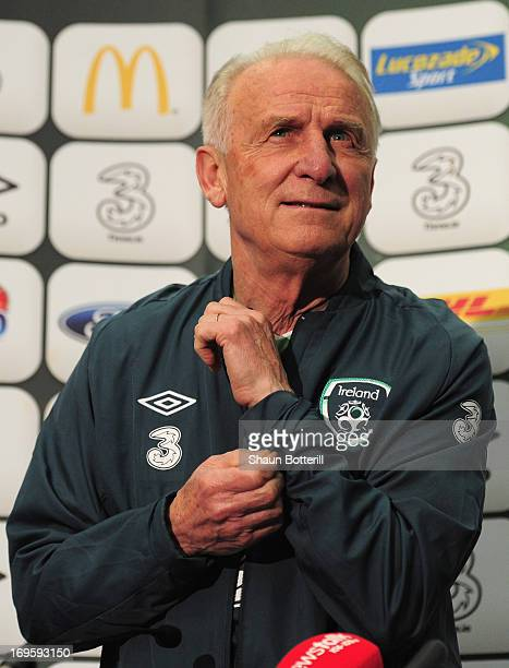 Giovanni Trapattoni the Republic of Ireland coach talks to the media during a press conference ahead of their international friendly against England...
