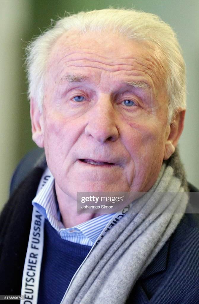 Giovanni Trappatoni, former head coach of Italy attends a press conference ahead of the international friendly match between Germany and Italy at Allianz Arena on March 28, 2016 in Munich, Germany.