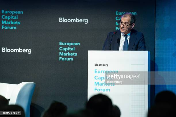 Giovanni Tria Italy's finance minister speaks during the European Capital Markets in Milan Italy on Tuesday Sept 18 2018 Europe's most senior bankers...