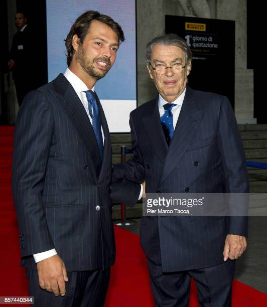 Giovanni Tronchetti and Massimo Moratti attend a ceremony announcing the return of Pirelli to the Milan StockExchange on October 4 2017 in Milan...