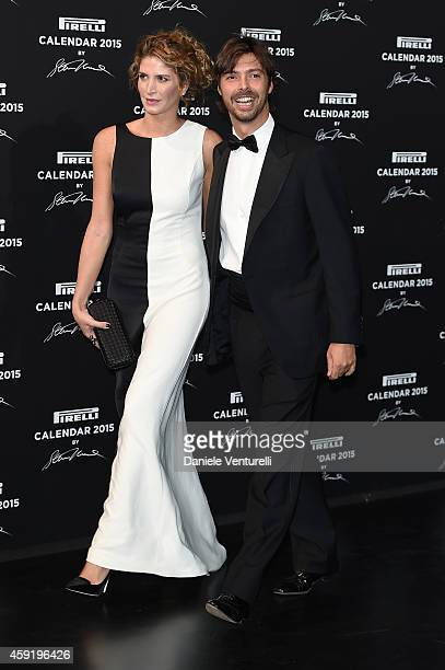 Giovanni Tronchetti Provera and Nicole Moellhausen attend the 2015 Pirelli Calendar Red Carpet on November 18 2014 in Milan Italy