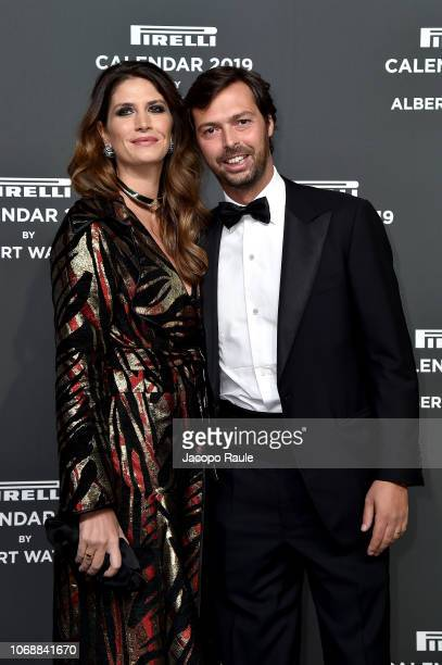 Giovanni Tronchetti Provera and Nicole Moellhausen walk the red carpet ahead of the 2019 Pirelli Calendar launch gala at HangarBicocca on December 5...