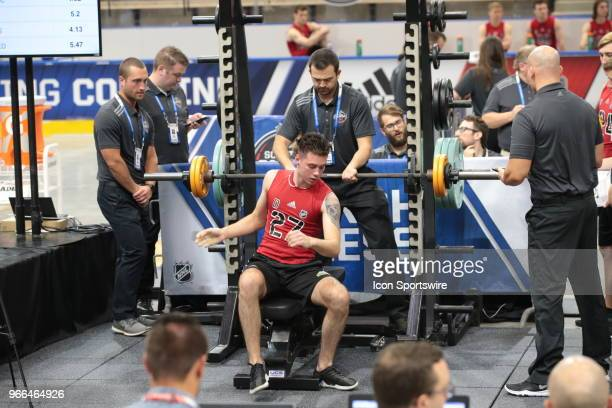 Giovanni Vallati completes the bench press test during the NHL Scouting Combine on June 2 2018 at HarborCenter in Buffalo New York