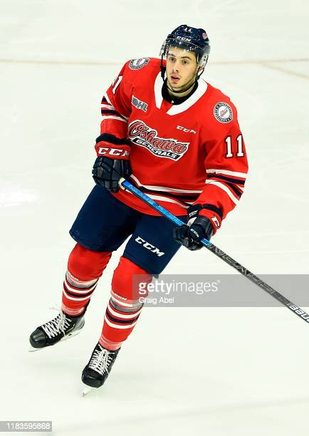 Giovanni Vallati of the Oshawa Generals skates against the Mississauga Steelheads during game action on October 25, 2019 at Paramount Fine Foods...