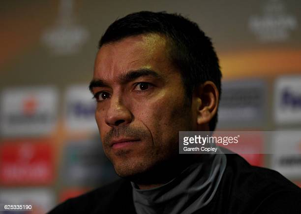 Giovanni Van Bronckhorst Manager of Feyenoord during the Feyenoord press conference at Old Trafford on November 23 2016 in Manchester England