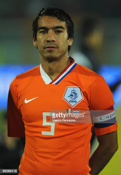 Giovanni van Bronckhorst of Holland lines up for the anthems prior to kickoff during the international friendly match between Italy and Holland at...