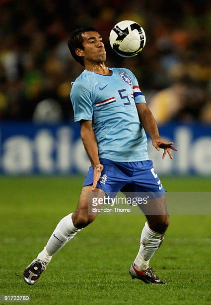 Giovanni Van Bronckhorst of the Netherlands controls the ball during the international friendly match between Australia and the Netherlands at Sydney...