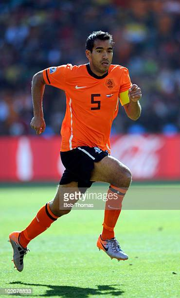 Giovanni Van Bronckhorst of the Netherlands during the 2010 FIFA World Cup Group E match between Netherlands and Denmark at Soccer City Stadium on...