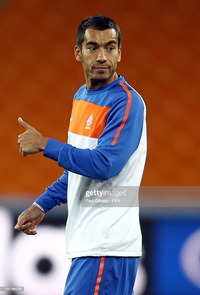 Giovanni Van Bronckhorst of the Netherlands gives the thumbs up during a Netherlands training session, ahead of the 2010 FIFA World Cup Final, at Soccer City Stadium on July 10, 2010 in Johannesburg, South Africa.