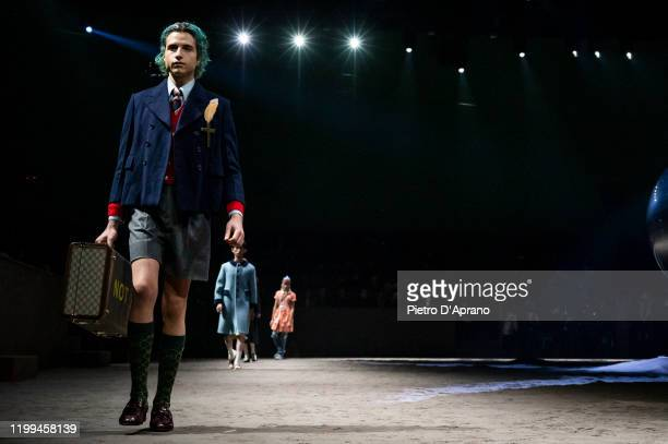 Giovanni Vetere walks the runway at the Gucci fashion show on January 14, 2020 in Milan, Italy.
