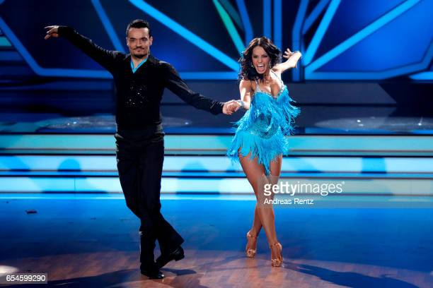 Giovanni Zarrella and Christina Luft perform on stage during the 1st show of the tenth season of the television competition 'Let's Dance' on March 17...