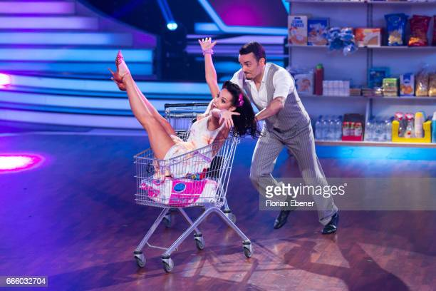 Giovanni Zarrella and Christina Luft perform on stage during the 4th show of the tenth season of the television competition 'Let's Dance' on April 7...