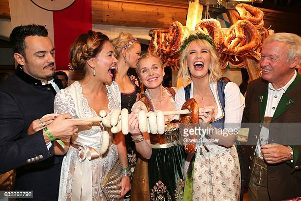 Giovanni Zarrella and his wife Jana Ina Zarrella Franziska Knuppe Barbara Sturm and Monica Ivancan Balthasar Hauser during the Weisswurstparty at...