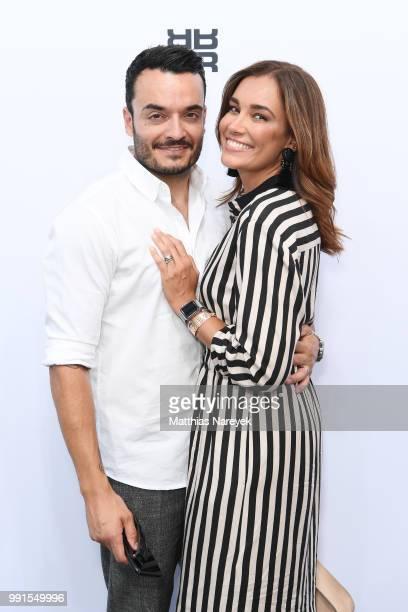 Giovanni Zarrella and Jana Ina Zarrella attend the Riani show during the Berlin Fashion Week Spring/Summer 2019 at ewerk on July 4 2018 in Berlin...