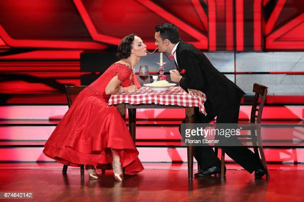 Giovanni Zarrella and Marta Arndt perform on stage during the 6th show of the tenth season of the television competition 'Let's Dance' on April 28...